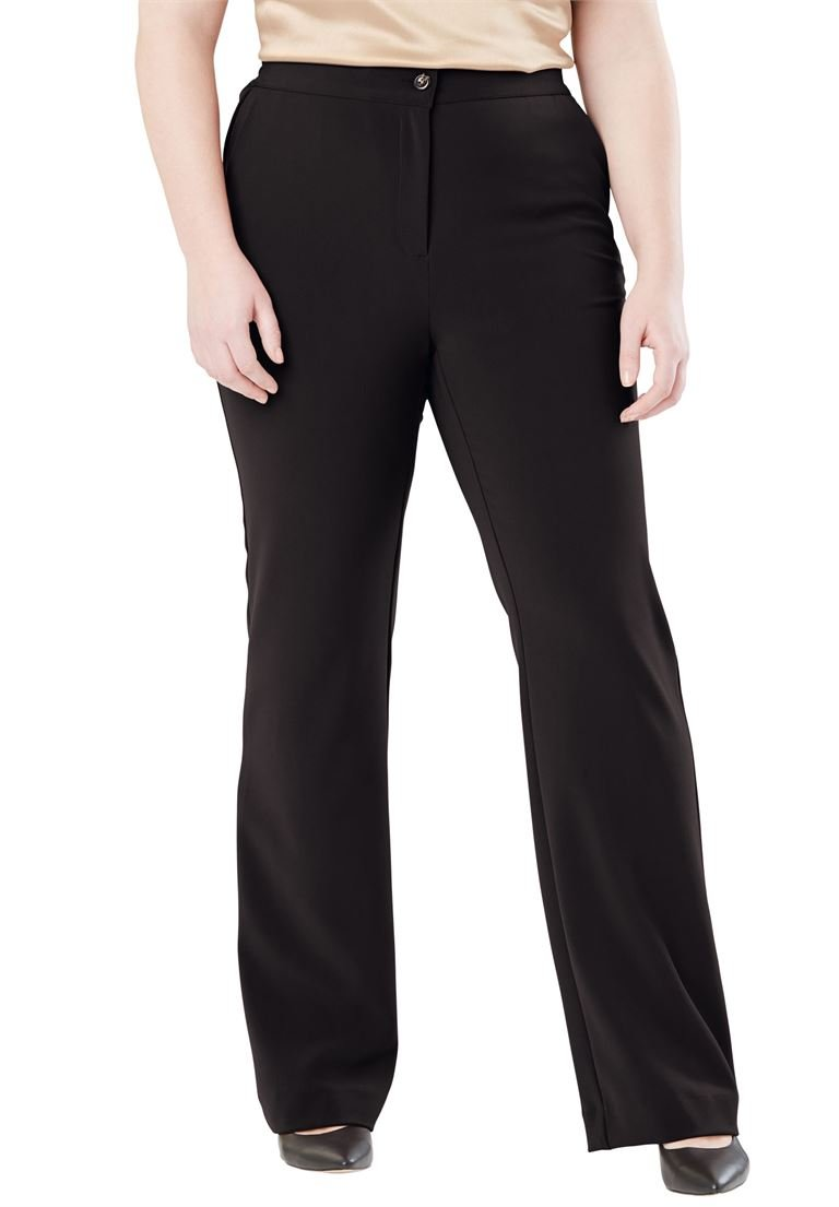 Jessica London Women's Plus Size Tummy Control Bi-Stretch Bootcut Pant Black,32