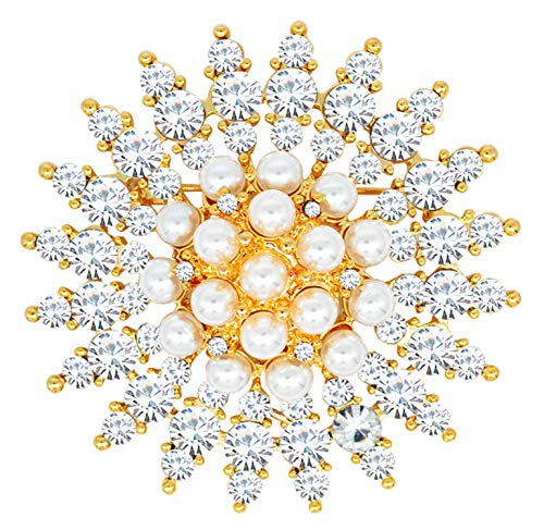 Gyn&Joy Golden Tone Clear Crystal Rhinestone Faux Pearl Flower Fashion Round Pin Brooch BZ207