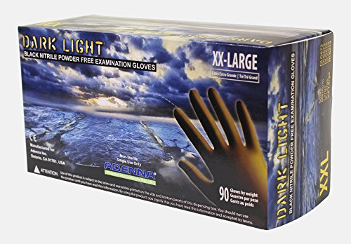 Adenna DLG679 Dark Light 9 mil Nitrile Powder Free Exam Gloves (Black, XX-Large) Box of 90 (Returns Dept)