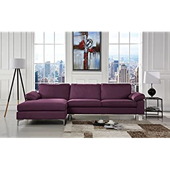 Fabulous Modern Large Linen Fabric Sectional Sofa L Shape Couch With Extra Wide Chaise Lounge Purple Pdpeps Interior Chair Design Pdpepsorg