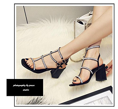Buckle Pump Shoes Women Open Summer Diamonds Sandals Toe Charming Shoes Thick High Roman Black Word With Ankle Toe Strap New Open Heels 0x0fUwqBI