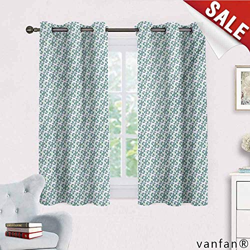 Big datastore Geometric Curtains for Living Room,Cubes with Small Squares Dimensional Illusion Effect Artistic Multicolor Printed,Reseda Green Slate Blue White W55 x L63