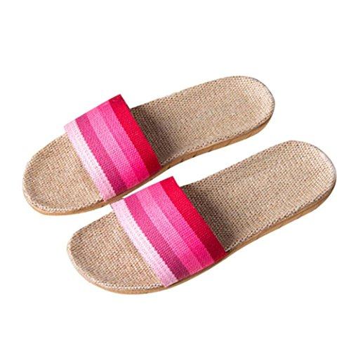 libre Pisos de Chanclas Chicas Cómodo Sandalias Rosa de Mujer baño Zapatos de playa al adolescentes Zapatilla Interior Lino Ducha ligero único Byste Ropa verano Inicio aire EAxqOR0Ow