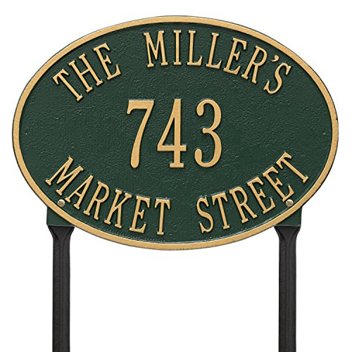 (Whitehall Products Hawthorne Standard Oval Green/Gold Lawn 3-Line Address Plaque)