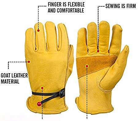 2 Pairs Grain Cowhide1 Pair Extra Large BearHoHo New Mens Full Leather Work Gloves with Ball and Tape Wrist Closure