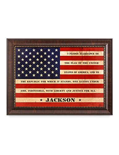 (IPIC - American Flag, Personalized Artwork with Family Name and Oath, Perfect Army for Independent Day, Thanksgiving and Christmas. Picture Size: 18x12, Framed Size: 21x15)