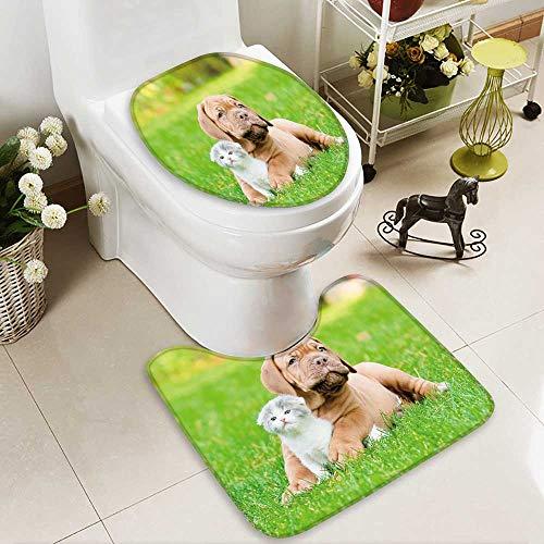 aolankaili Soft Toilet Rug 2 Pieces Set Bordeaux puppy dog with newborn kitten on green grass ()