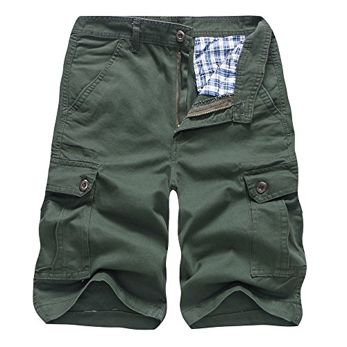 Realdo Men's Solid Shorts, Casual Pure Color Outdoors Pocket Work Trouser Cargo Pant(Army Green,32) -