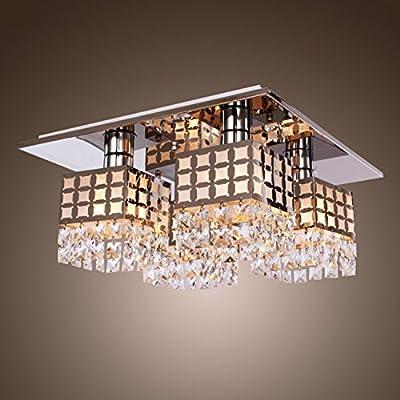 Lightess Ceiling Light Crystal Flush Mount Light Fixture Modern Stainless Steel Chandelier Square Lighting with 4 Lights