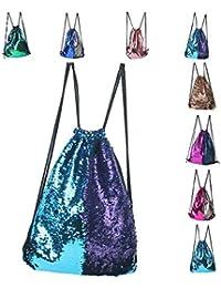 Fashion Glitter Drawstring Backpack Sequins Mermaid Sequins Magic Reversible Glitter String Bag