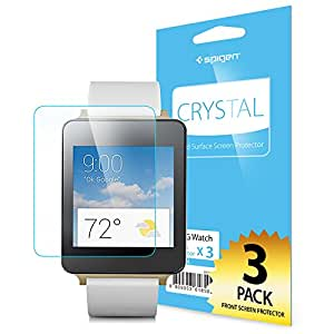 LG G Watch Screen Protector, Spigen® [Full HD] LG G Watch Screen Protector [Crystal Clear][3-PACK] **Lifetime Warranty** JAPANESE BASE PET FILM High Definition (HD) Premium Ultra Clear Front Screen Protector for LG G Watch (2014) - Crystal CR (SGP11015)