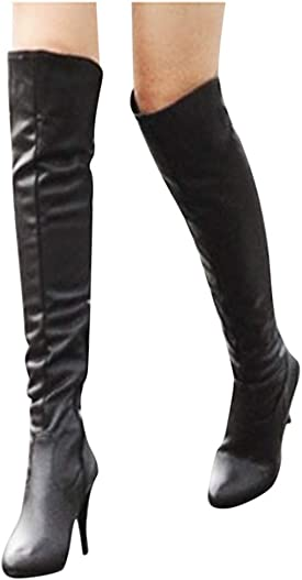 Women s Long Tube Knee Length Boots Retro Warm Waterproof Stiletto Knight Boots Novelty Closed Toe Outdoor Western Shoes
