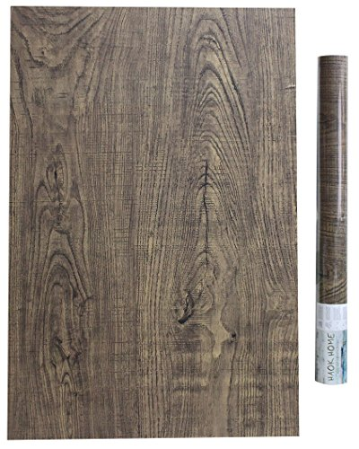 HaokHome 610401 Faux Wood Wallpaper Peel and Stick Brown Wooden Plank Sticker 17.7