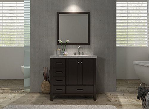 Cambridge 37'' Single Sink Vanity Set w/ Right Offset Sink in Espresso by Ariel Bath by Ariel Bath