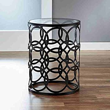 Innerspace Circles Metal Barrel End Table, Black