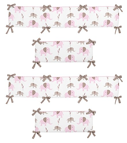 Pink and Taupe Mod Elephant Collection Crib Bumper by Sweet