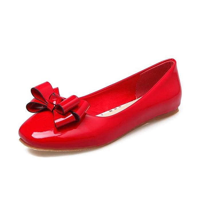 QXH Sandalen von Frauen Flach Mund Quadratischen Kopf Flach Farbe groß, Rot, 40