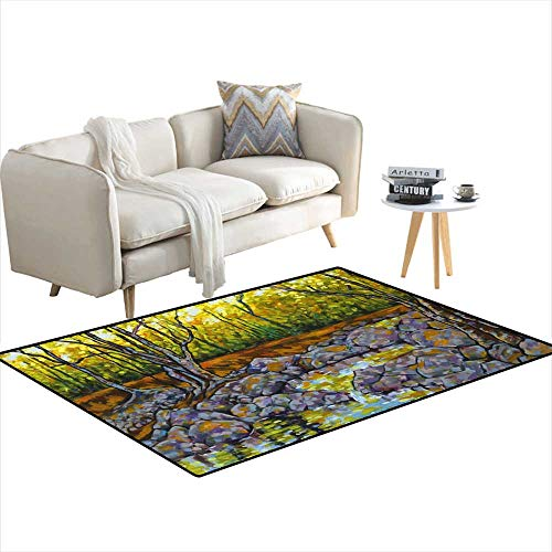 (Girls Bedroom Rug Oil Painting of River Rock Pools Trees and Dappled Sunlight 48