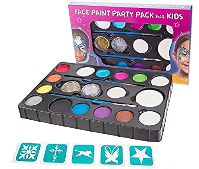 Blue Squid Face Paint X-Large Ultimate Party Pack for Kids. 14 Colors, 4 Sponges, 2 Brushes, 2 Glitter Gels & Stencils. Best Quality Set, Vibrant Water Based Non-Toxic FBA Approved +BONUS Online Guide