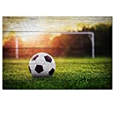 Sea Charm Soccer Canvas Wall Art Vintage Wood Grain Close Up of Soccer Ball in The Sunset Giclee Artwork Stretched and Framed Ready to Hang,Modern Home Decor