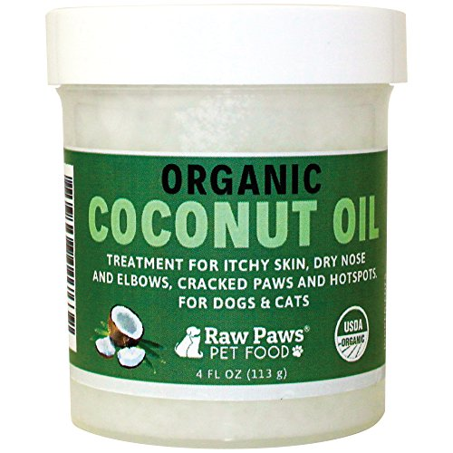 Raw Paws Pet Organic Coconut Oil for Dogs & Cats, 4-ounce - Treatment for Itchy Skin, Dry Nose, Paws, Elbows & Hot Spots - Flea and Tick Prevention - Hairball Control