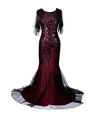 9f7ac952ab2f Women's Evening Dress 1920s Sequin Mermaid Hem Maxi Long Formal Ball Gown  at Amazon Women's Clothing store: