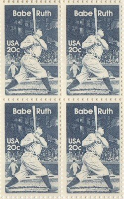 (Babe Ruth Set of 4 x 20 Cent US Postage Stamps NEW Scot 2046 by US Postal Service)