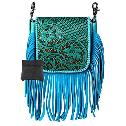 Handcrafted Leather 4 in 1 Bundle Clutch Crossbody Biker Bag w Fringe & Coin Key Fob (Turquoise with Tooled Basketweave)