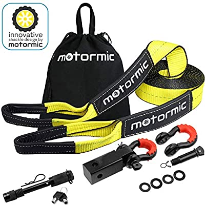 """Motormic Tow Strap Recovery Kit – 30 ft x 3"""" (30,000 lbs.) Rope + 2"""" Shackle Hitch Receiver + 5/8"""" Locking Pin + 3/4"""" D Ring Shackles + Heavy Duty Bag - Off Road Pick Up Truck Emergency Towing"""