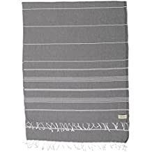 Bersuse 100% Cotton - Anatolia XL Blanket Turkish Towel - Bath Beach Fouta Peshtemal - Multipurpose Bed or Couch Throw, Table Cover or Picnic Mat - Striped - 61X82 Inches, Anthracite