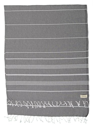 Anthracite Outdoor Wall Light - Bersuse 100% Cotton - Anatolia XL Throw Blanket Turkish Towel Pestemal - Bath Beach Fouta Peshtemal - Multipurpose Bed or Couch Throw, Table Cover or Picnic Mat - Striped - 61X82 Inches, Anthracite