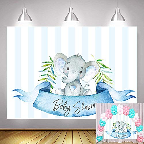TJ Blue Stripe Elephant Prince Photography Backdrops Baby Shower Boy Birthday Party Decor Banner Watercolor Leaves Dessert Table Decorations Photo Background Studio Booth Props 7x5ft Vinyl
