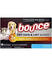 Bounce Pet Hair and Lint Guard Mega Dryer Sheets with 3x Pet Hair fighters, Fresh Scent, 80 count