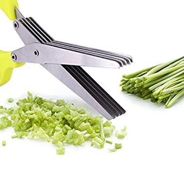 Koolife Herb Scissors Multifunctional Kitchen Shear with 5 Blades and Cleaning Comb (Onion green)