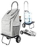 Bigger Trolley Dolly, Grey Chevron  Shopping Grocery Foldable Cart