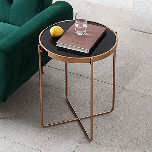 In De Mode GWFVA ronde middeleeuwse moderne salontafel, voor woonkamer sofa bijzettafel, sappige marmer bijzettafel voor salontafel, 201 roestvrijstalen frame (zwart)  kNZirkc