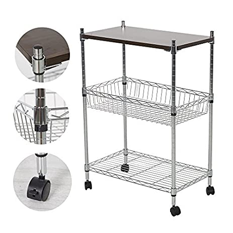 Livebest Multifunction 3 Tier Shelves On Wheels Heavy Duty Kitchen Office  Cart Storage Cart