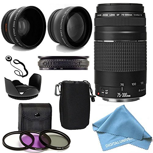 Canon EF 75-300mm f/4-5.6 III Telephoto Zoom Lens Kit with 2X Telephoto Lens, HD Wide Angle Lens and Accessories by DigitalUniverse