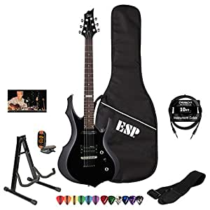 esp ltd f10kit blk electric guitar with esp gig bag lesson chromacast strap tuner. Black Bedroom Furniture Sets. Home Design Ideas