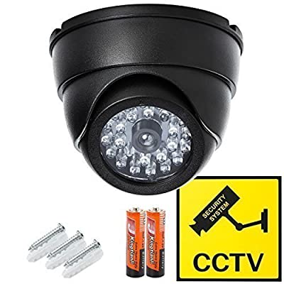 Dome Surveillance Security Dummy Imitation Camera- Simulated Blinking LED Light - Fake Infrared CCTV - Batteries Included - Warning Security Alert Sticker Decals Included - Wall or Ceiling Mount Screws Included