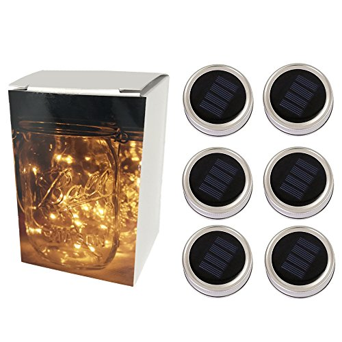 6-Pack Solar-powered Mason Jar Lights (Jar & Handle Not Included),10 Bulbs Warm White Jar Hanging Light,Solar Fairy Firefly Lights Lids Insert Fit for Regular Mouth Jars for Decor Solar Table (Led Mason Jar Lights)
