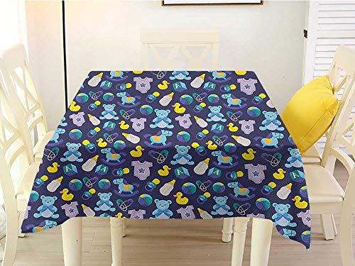 L'sWOW Square Tablecloth for Patio Table Clamps Nursery Children Toys Pattern with Rubber Duck Teddy Bear Beach Ball and Rocking Horse Multicolor Plaid 60 x 60 Inch