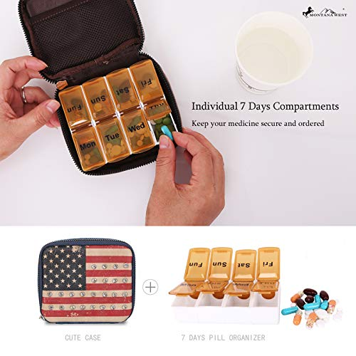 Weekly Pill Organizer Box Case, Cute Travel Pill Vitamin and Supplement Holder Day Night -Faux Leather Carrying Case Included SW MW933-193NY