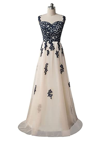 Beauty-Emily Wedding Dresses Champagne Ladys Elegant Lace Fashion A line Prom Party Dress Champagne