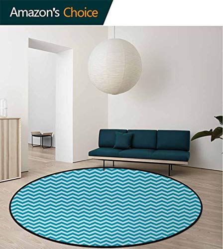 DESPKON-HOME Chevron Anti-Skid Area Rug,Zigzags in Sea Colors Ocean Waves Nautical Theme Sailboat Design Sea Breeze Green Soft Area Rugs Round-71 Inch,Teal Light - Sea Breeze Rug Tiles