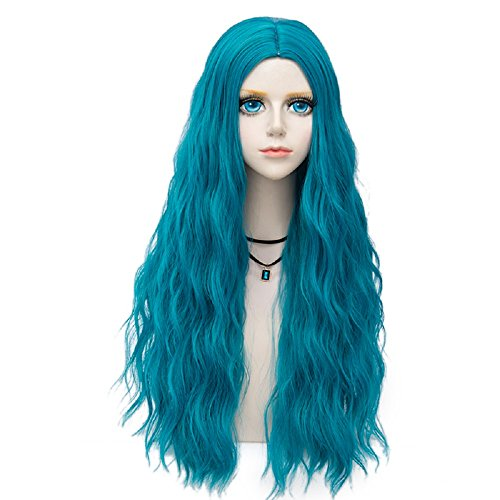 Miracle &Forest Lady Collection Heat Resistant Synthetic Wigs Long Curly Women Cosplay Wig (70cm, Lake Blue -