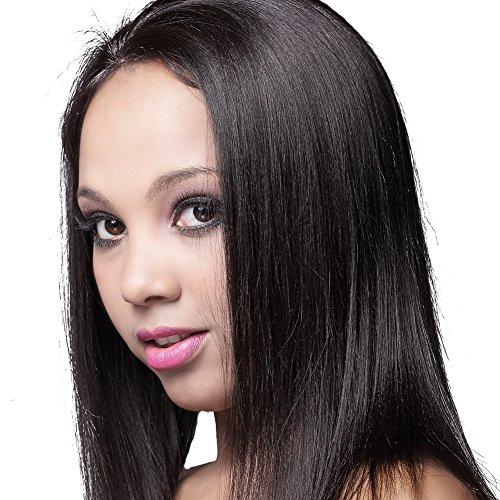 VV Hair® Light Yaki Unprocessed 100% Real Malaysian Virgin Human Hair Full Lace Wig Natural Black Color 14 Inches