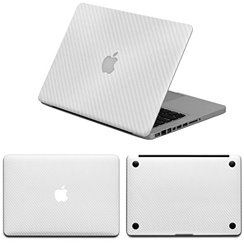 Carbon Fiber Macbook - HERNGEE Carbon Fiber Protective Decal & Skin Protector, PVC Skin Cover Sticker Compatible with MacBook Pro 13 inch, White