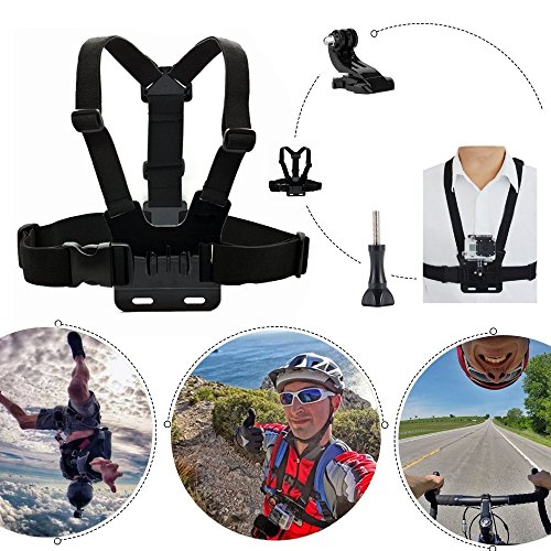 VVHOOY 3 in 1 Universal Waterproof Action Camera Accessories Bundle Kit - Head Strap Mount/Chest Harness/Selfie stick Compatible with Gopro Hero 7 6 5/AKASO EK7000/APEMAN/ODRVM/Crosstour Action Camera