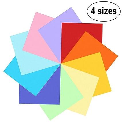 400 hojas de doble cara de papel para Origami en 10 colores surtidos con 4 tamaños distintos (100 hojas 20 x 20cm, 100 hojas 15x15cm, 100 hojas ...